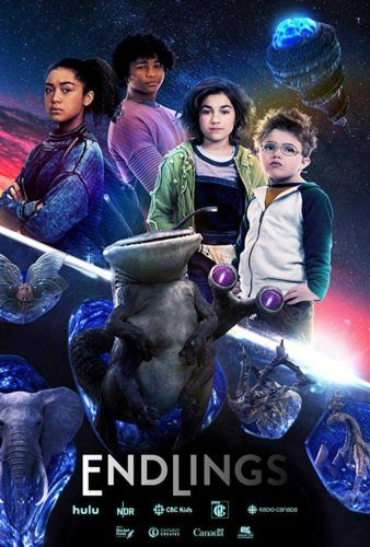 A film poster with four young children standing in space with an alien.